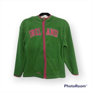Size 10-12 Girl's Hoodie Landsdowne Thick Soft Warm Fleece Green and Pink